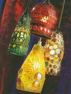 bottle neck adapter for bottle and jar cutter. lights made from cut glass bottles. Mosaic Crafts, Mosaic Projects, Mosaic Art, Mosaic Glass, Glass Art, Cut Glass, Stained Glass, Wine Bottle Art, Wine Bottle Crafts