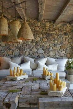 57 Awesome Rustic Patio Designs : 57 Cozy Rustic Patio Designs With Stone Wall And Wooden Beams And White Sofa Pillow Stone Table Candle Floor Patio Design, Home Design, Interior Design, Modern Interior, Design Ideas, Masculine Interior, Natural Interior, Design Inspiration, Outdoor Rooms