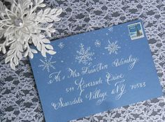 winter wedding Snowflake design Calligraphy envelope Addressing