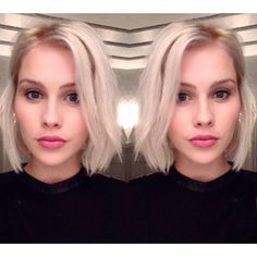 Icy Blonde + Bobcat Cut for @ClaireHolt ❄️⚡️✂️ Meeeeooowww!!! New Year=New Hair! Such a beauty #girlcrush #haircolor #haircut by #sunniebrook sunniebrook (Sunnie Brook) on Instagram