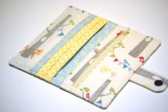 BrooklynLoveDesigns on etsy   Fox Wallet Bifold, Organic Fabric Woodland Party , Vegan Wallet Blue, Yellow, Grey, Made to Order