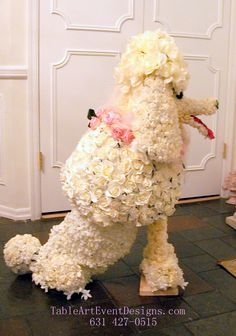Floral Sculpture of French Poodle Dog. Available for Special Events, Displays and Parties