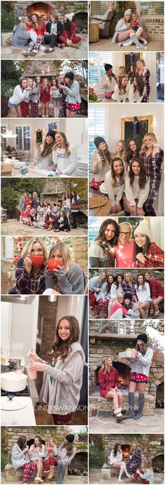 Senior Model Reps Christmas party! We did a pajama party where we decorated gingerbread men and had a hot cocoa bar. We invited past alumnae reps and had a blast. Outdoor fireplace portraits, styled shoot, Christmas styled shoot, pjs, pajama party shoot.