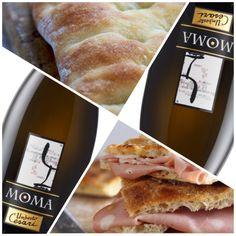 #aperitivo gustoso focaccia romana con #mortadella e #MOMA Spumante