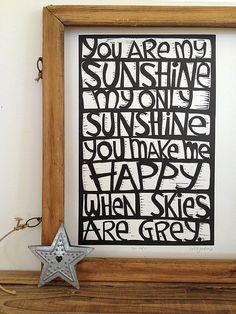 you are my sunshine  original linocut print  by katiejardineART