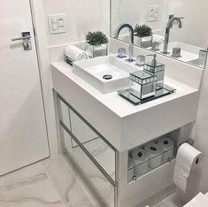 ideas bedroom design loft storage for 2019 Compact Bathroom, Small Bathroom, 50s Bathroom, White Bathroom, Modern Bathroom, Bathroom Interior, Interior Design Living Room, Loft Storage, Bad Inspiration