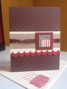"""birthday-Adorning Accents Edgelit; Perfect Polka Dots textured impressions; Punch Bunch (crumb cake; chocolate chip scallop square ; riding hood red 1-3/4"""" square; very vanilla 1"""" square)- stampin up card"""