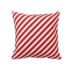 Red White Candy Cane Striped Christmas Throw Pillows
