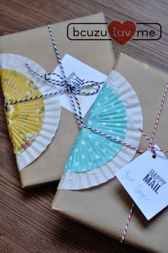 cupcake liner gift wrapping bcuzulume blog.....Oh my gosh this is too sweet! Now I know what to do with all those left over cupcake liners.