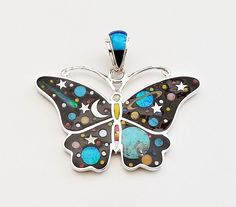 FASCINATING ARTISAN BUTTERFLY PENDANT IN TURQUOISE/MULTICOLOR INLAY .925 SILVER  #Blakapinocreations