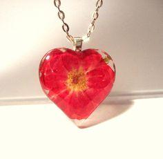 Real Red Rose Pressed Flower Heart Glass by GardenGemsJewelry, $21.95
