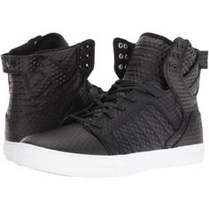 Supra Skytop (Black Leather/White) Men's Skate Shoes ($115) ❤ liked on Polyvore featuring men's fashion, men's shoes, men's sneakers, mens black shoes, mens black skate shoes, mens black and white shoes, mens shoes and mens black monk strap shoes