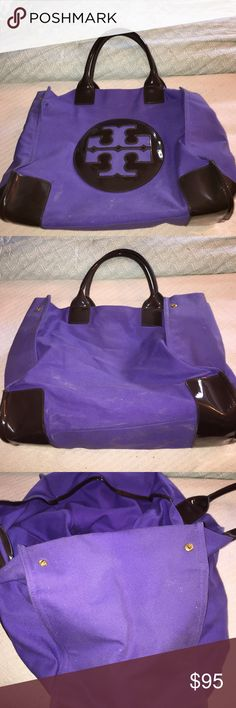 Tory Burch tote Purple fabric and brown leather. Not in the greatest condition scratches on the leather. Very dusty been in storage for a while. I'm sure you could get it cleaned! The white on the brown area is obviously the flash! lol Tory Burch Bags