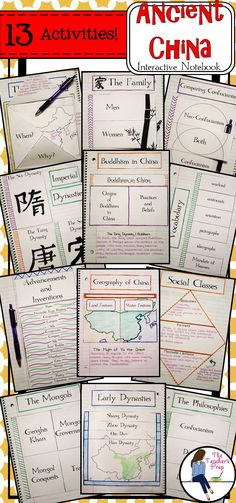 Interactive Notebooks are so much fun! Students can use these 13 different graphic organizers to learn about early and Imperial China!