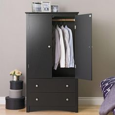 Prepac Sonoma Black Armoire at Lowe's. The Sonoma 2 door armoire is versatile enough to accommodate just about anything you choose. Make the cabinet behind the double doors an entertainment Wardrobe Closet, Closet Bedroom, Wooden Wardrobe, Furniture, Wood Armoire, Prepac, Closet Storage Cabinets, Online Furniture Shopping, Adjustable Shelving