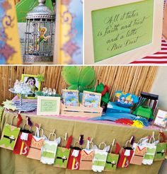 Magical Peter Pan Party {4th Birthday} Love the favor station with the bags