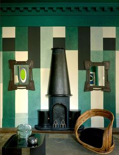No word on this interior. Clearly put together by someone with a profoundly developed sense of style and who's an educated curator to contend with. Love that Sonia Delaunay style pattern on the wall.