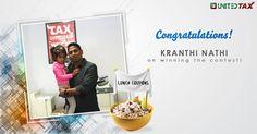 Kudos, Kranthi Nathi on winning the yummylicious lunch coupon. #UnitedTax #Contest #Winner