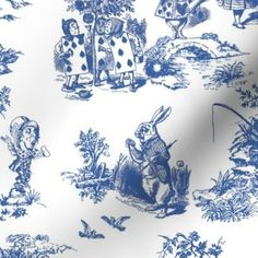 Colorful fabrics digitally printed by Spoonflower - alice blue  toile de jouy large