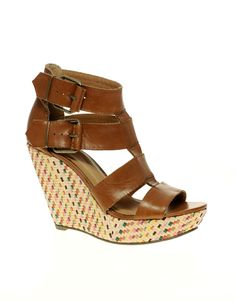 ASOS HORIZON Leather Wedges with Weave Detail  SGD$132.69