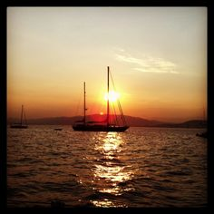Sunset at the Iles de Lerins, Cannes Provence, France, Cannes, Sailing Ships, Sunsets, Boat, City, Dinghy, Boats