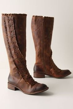 Anthropologie Miss Albright Winding Ruffle Boots in Size 8 | eBay