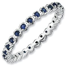 Stackable Expressions. Prong-Set Lab-Created Blue Sapphire Eternity Style Ring in Sterling Silver. Zales.