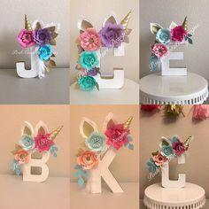 Unicorn Floral Letters/ Unicorn Letters/ Unicorn First