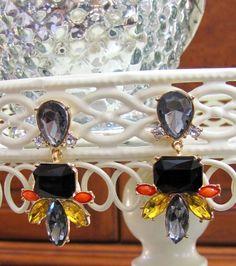 NEW Gray Crystal Pierced Resin Stone Earrings Dangle Drop Bubble Post Women's US #DropDangleStatement