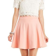Charlotte Russe Ponte Knit Skater Skirt ($17) ❤ liked on Polyvore featuring skirts, mini skirts, peach, skater skirt, mini skirt, red circle skirt, short skirts and mini skater skirt