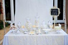 Dessert table o mesa de postres blanca · I love Lollipops