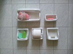 Vintage accessori per il bagno / Kit bagno porcellana bianca / Accessori bagnno…