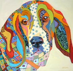 abstracted basset hound dog painting by Carolee Clark