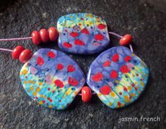 jasmin french ' poppies in purple ' lampwork beads set ooak
