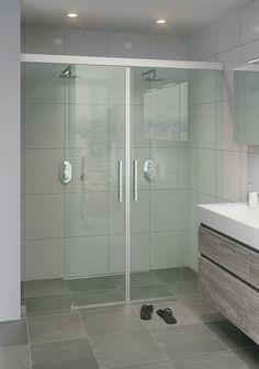 Bruynzeel Zeno schuifdeur 2-delig met 2 vaste segmenten nis/zijwand aluminium helder glas 1815x210cm 280114K
