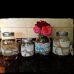 Rustic shabby chic mason jar centerpieces
