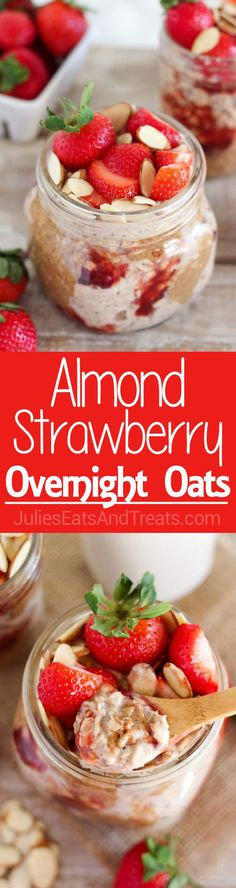 Almond Strawberry Overnight Oats ~ a recipe for creamy overnight oats flavored with almonds and strawberries...this healthy make-ahead breakfast is great for busy mornings!
