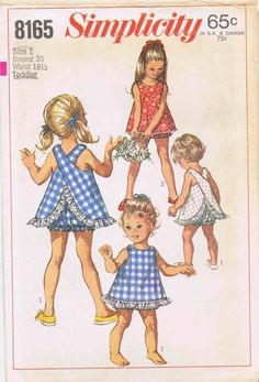 1960's Simplicity 8165 Vintage Sewing Pattern Child's Top and Bloomers: The lined