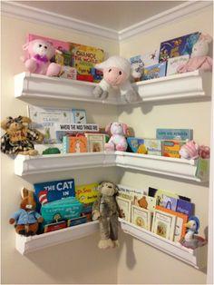 Rain gutter shelves for nursery books