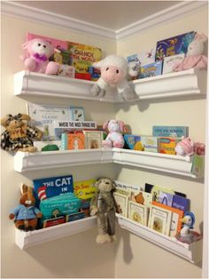 Rain gutter shelves would be perfect for books, unused picture frames, files/folders, cook books, just about anything.