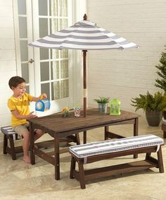 This Outdoor Stripe Table & Bench Set by KidKraft is perfect! #zulilyfinds