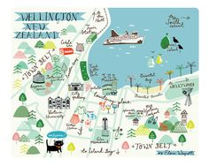 Map of Wellington is a giclee print of an original Flora Waycott illustration, showing the lovely city of Wellington, New Zealand. The map contains