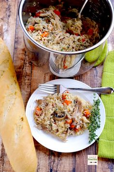 Instant Pot chicken and rice is a delicious and simple supper that you can make all in one pot. | APinchOfHealthy.com