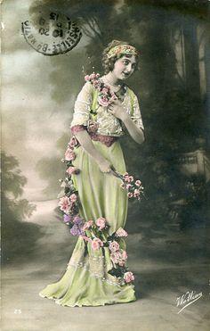 Original French vintage hand tinted real photo postcard - Lady wearing dress with rose garland - Victorian Paper Ephemera