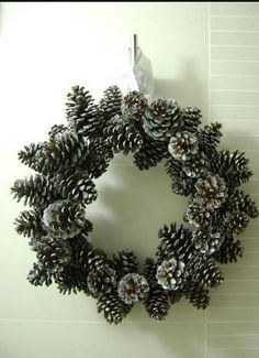 Easy DIY Christmas Crafts for Kids  - Pine Cone Wreath - Click pic for 45 Budget Friendly Holiday Decor Ideas