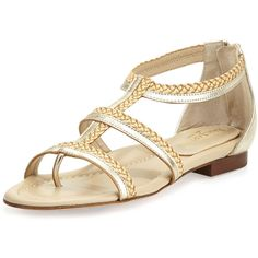 Eric Javits Brody Metallic Caged Sandal (185 BRL) ❤ liked on Polyvore featuring shoes, sandals, leather caged sandals, braided sandals, woven sandals, woven leather sandals and leather flat shoes