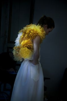 Photographer Erik Madigan Heck at the atelier of Giambattista Valli. AnOther magazine. Couture Fashion, Fashion Art, Editorial Fashion, Fashion Design, Foto Art, Shades Of Yellow, Giambattista Valli, Mellow Yellow, Big Yellow