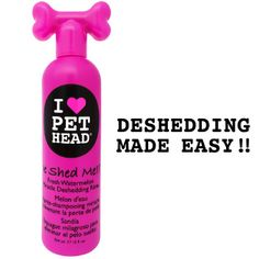 De Shed Me Miracle Deshedding Rinse Watermelon 12oz. A must have for pets that shed!! Whether short, coarse or long hair, your pet stays irresistibly petable for days!! For best results use twice weekly with our DeShed Me!! Miracle shampoo.