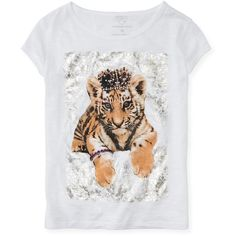 Aeropostale Kids' Royal Tiger Graphic T ($2.99) ❤ liked on Polyvore featuring tops, t-shirts, bleach, polish t shirts, aeropostale tees, rhinestone tees, bleach t shirt and tiger stripe t shirt