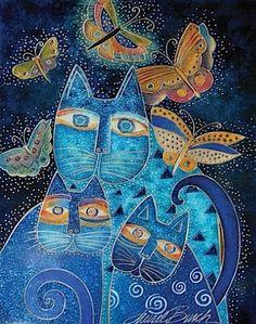 Gatos y mariposas en azul